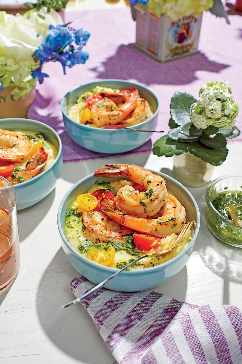 10 dinners to make someone fall in love with you southern living pan seared shrimp with chive grits and salsa verde forumfinder Images