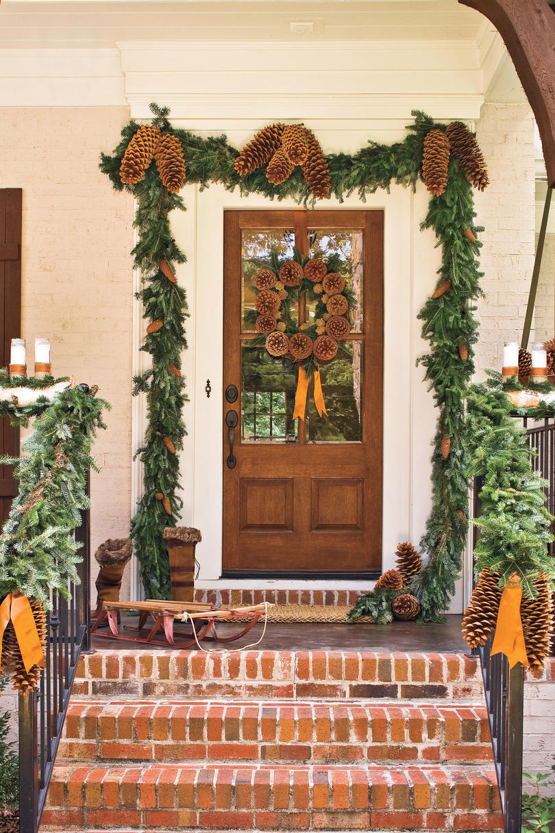Pinecone Garland Front Door & Spectacular Holiday Entry and Christmas Door Decorations - Southern ...