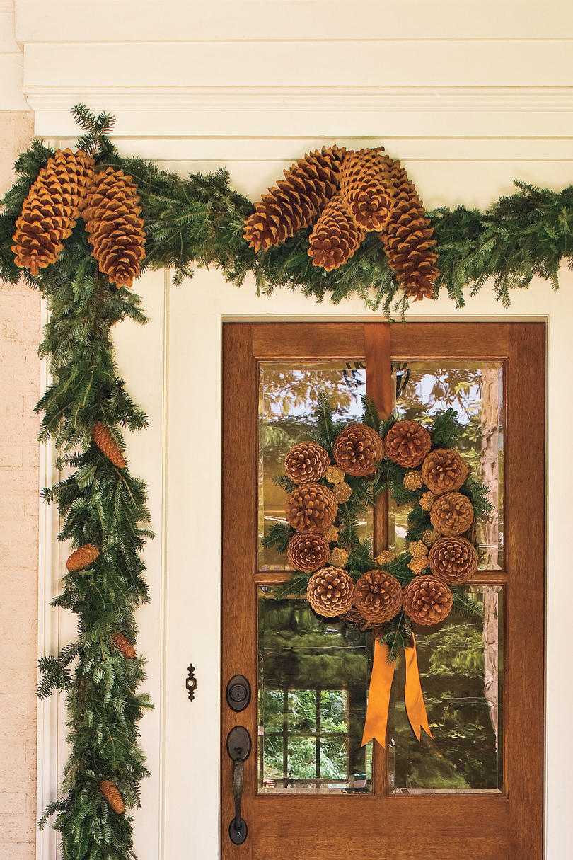 Ample Pinecones & Spectacular Holiday Entry and Christmas Door Decorations ... pezcame.com