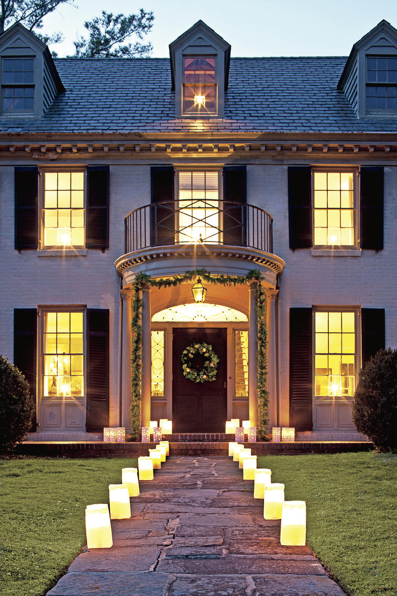 Christmas Exteriors Lit with Luminaries
