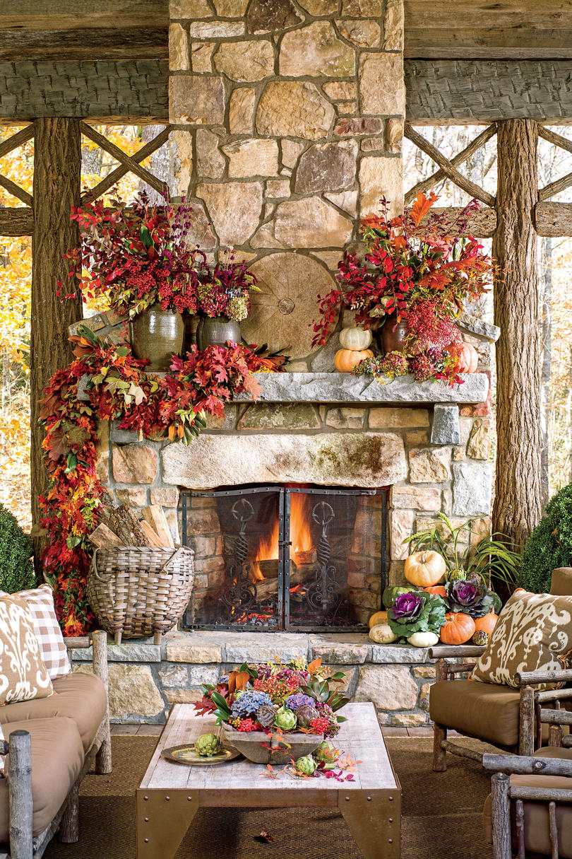 Timeless Outdoor Mantel & 25 Fall Mantel Decorating Ideas - Southern Living