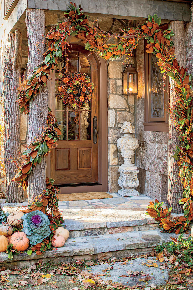 James Farmer Decorated Front Door for Fall