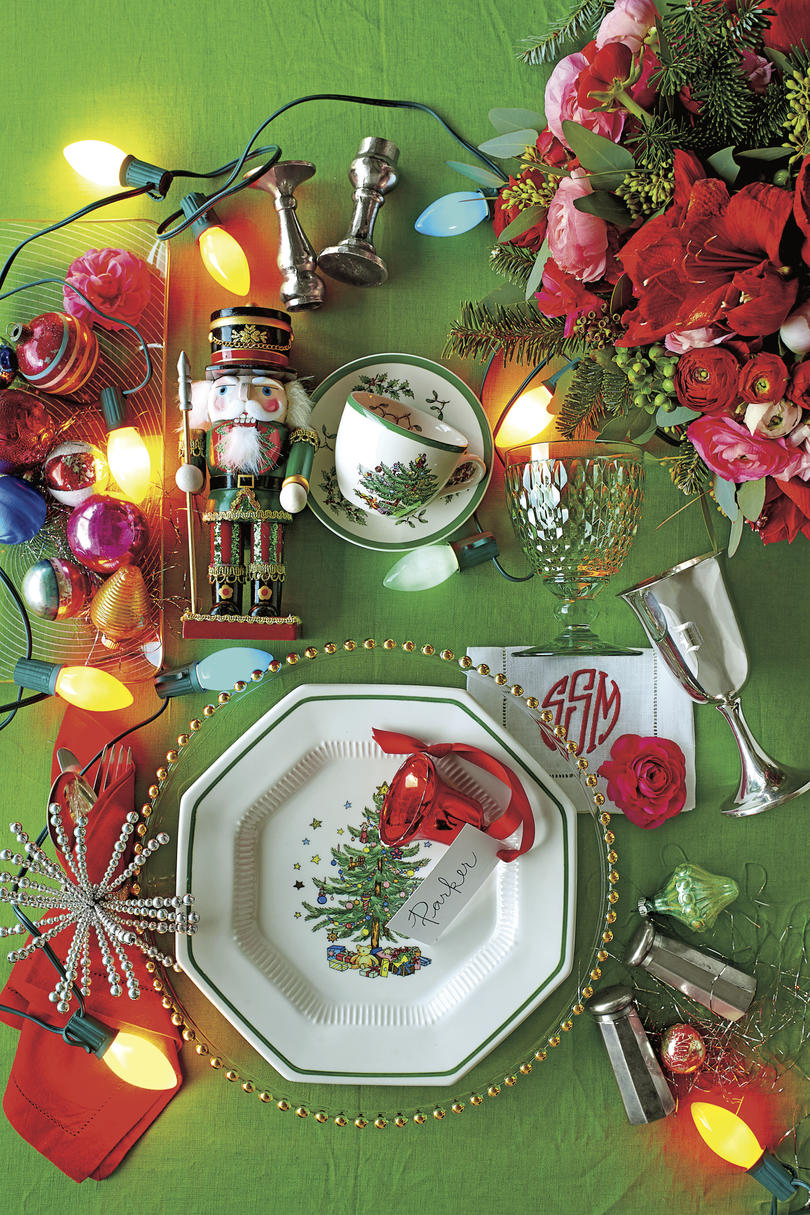 Christmas Table Setting Lit Up and Lovely