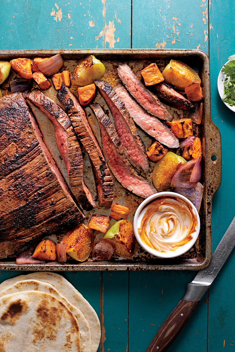 Ancho-Chile Flank Steak and Sweet Potato Tacos