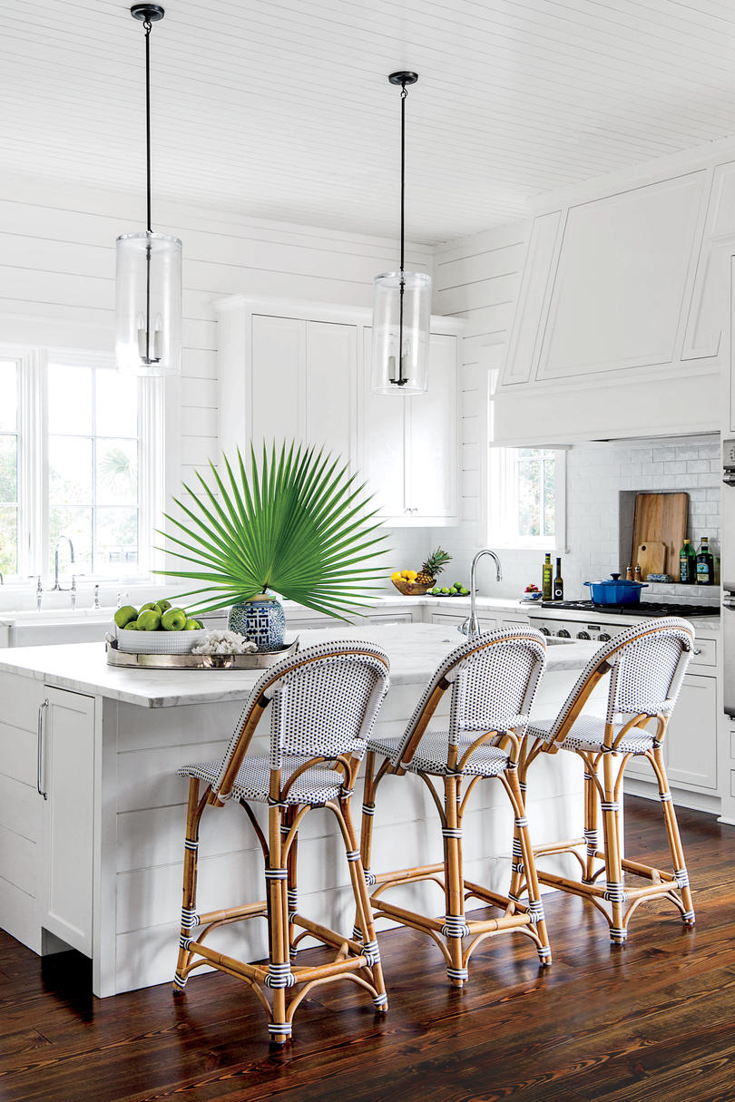 Coastal Kitchen with Palm Leaf