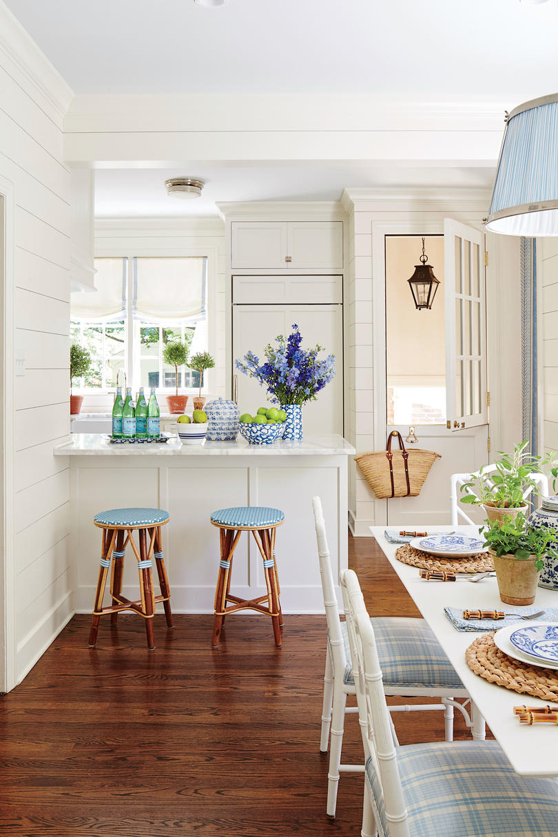 Blue and White L-Shaped Kitchen