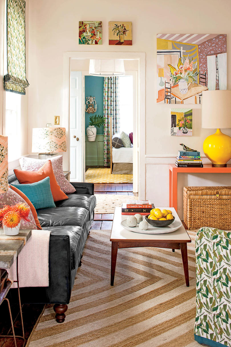 Colorful Charleston Living Room Art on Walls