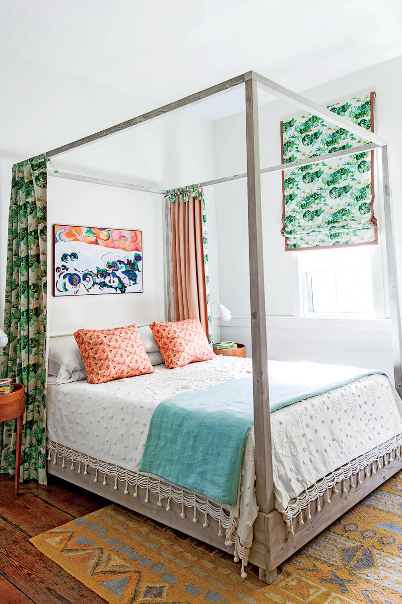 Charleston Colorful Bedroom Green and Coral Fabric