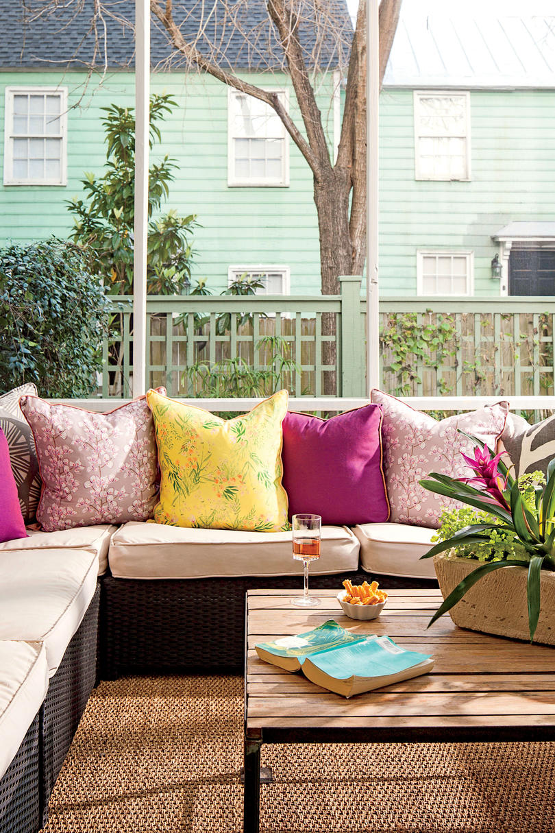 Charleston Porch Purple Pillows