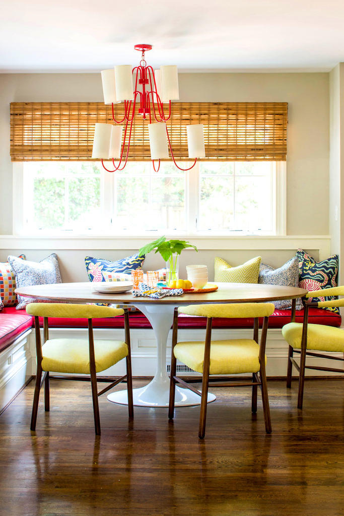 Red Banquette in Kitchen with Yellow Chairs