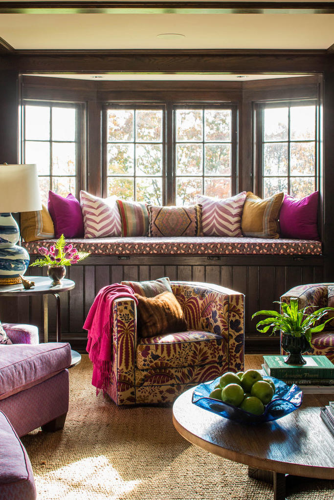 Purple and Wood Room with Window Seat