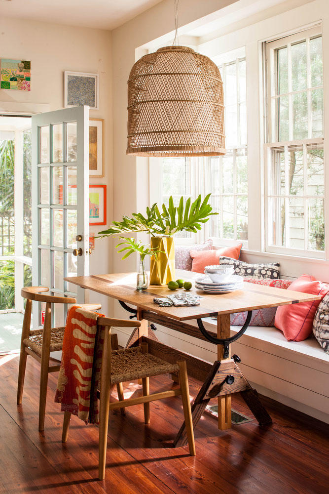 Breakfast Nook with Basket Light Fixture