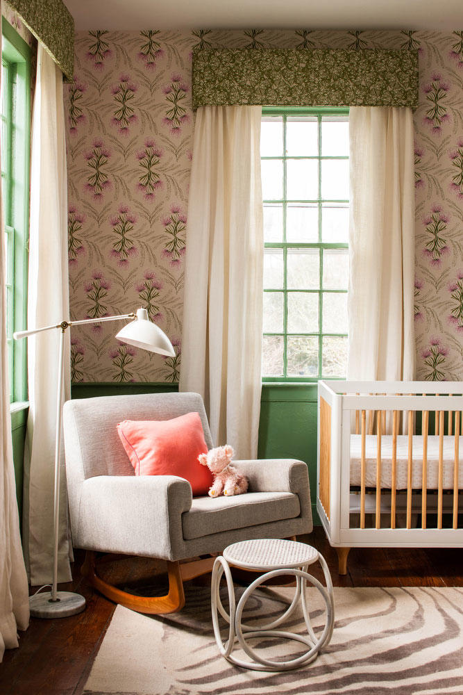 Baby Nursery with Floral Wallpaper