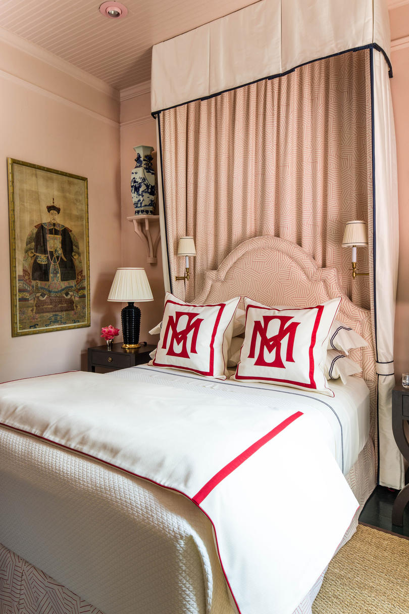 Blush Room with Red Monogrammed Bedding