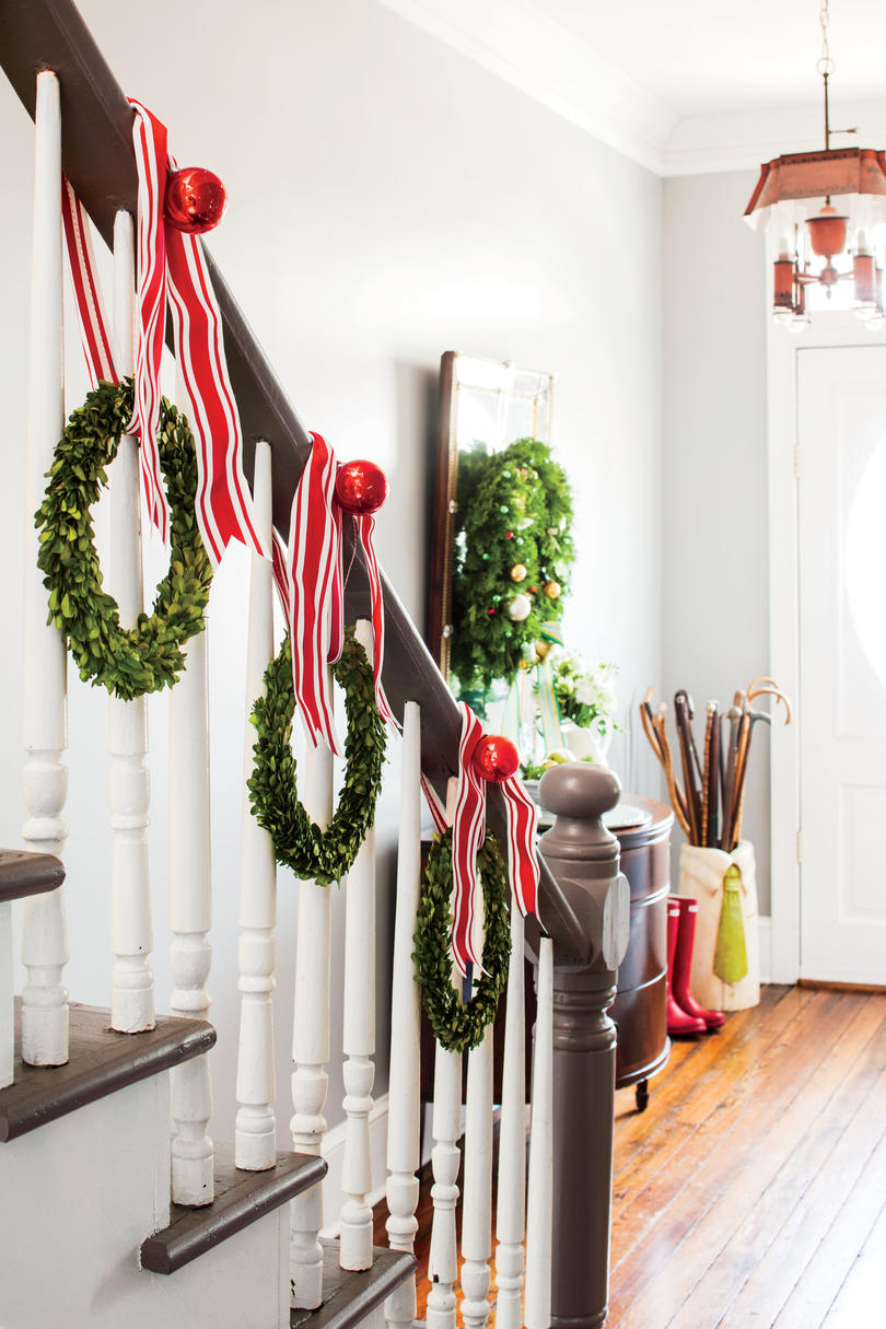 Christmas Wreaths up the Staircase