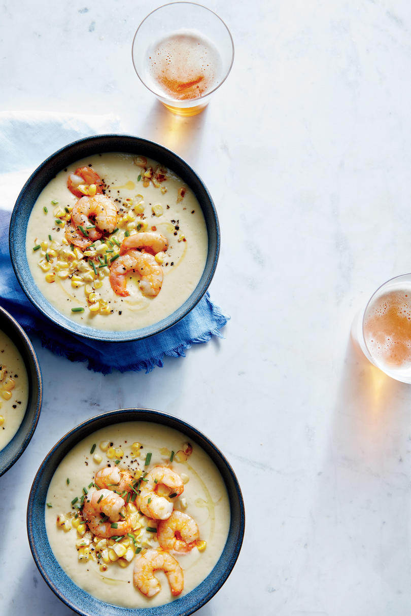 Fresh Corn and Potato Soup with Sautéed Shrimp
