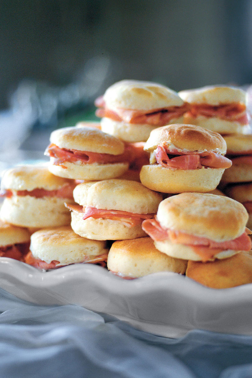 Ham-Stuffed Biscuits with Mustard Butter