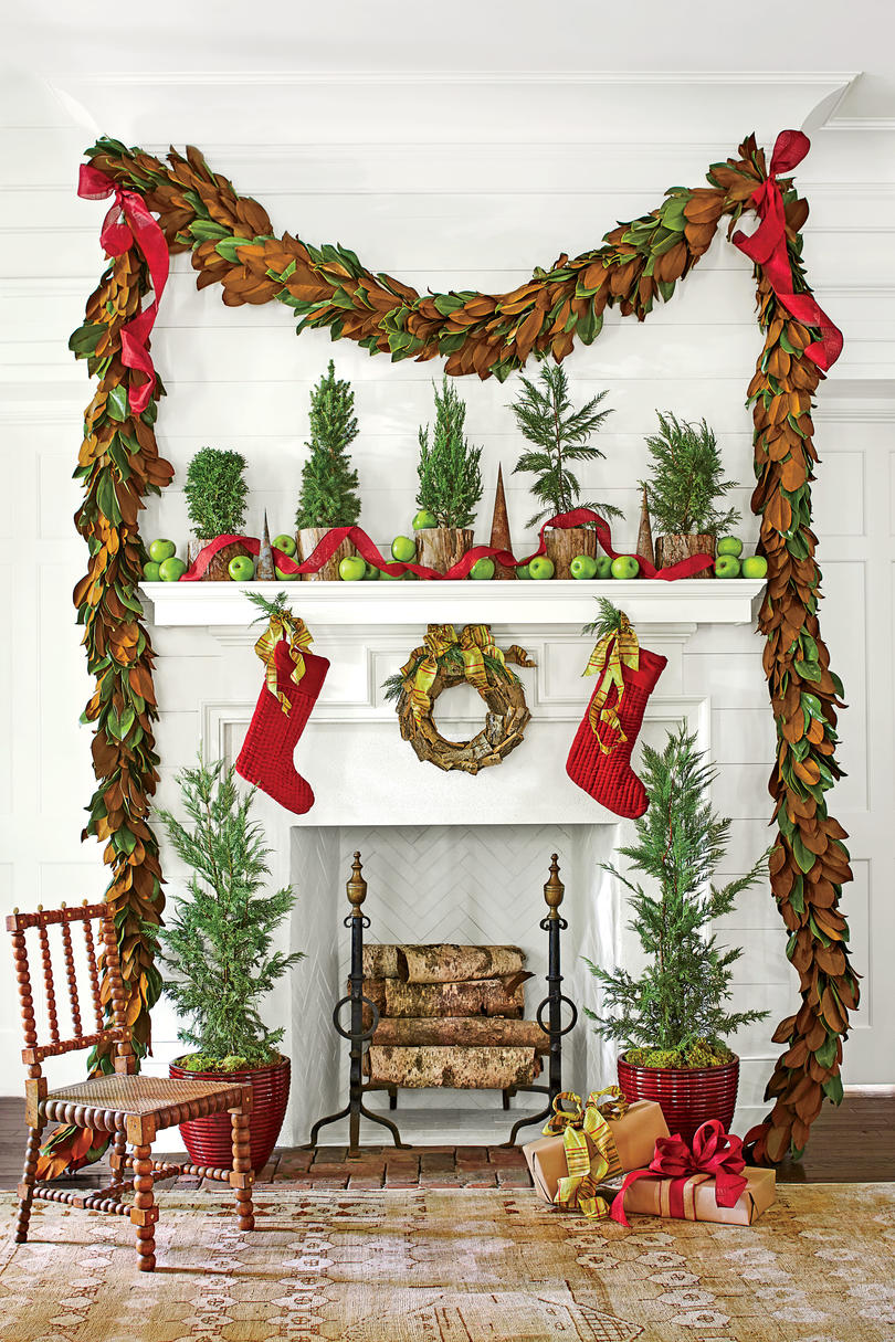 Christmas Mantel with Red and Mangolia Accents