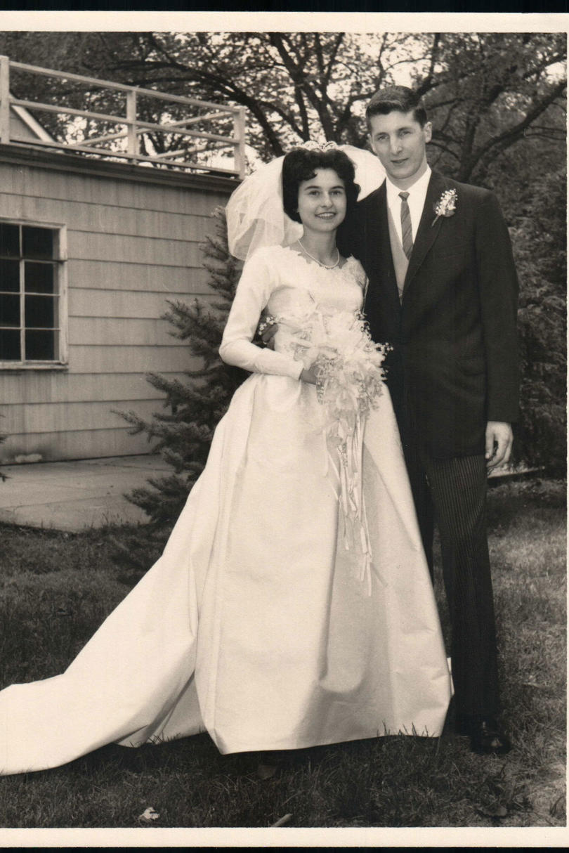 Ann and Joe Yedowitz Wedding Photo in Front of House