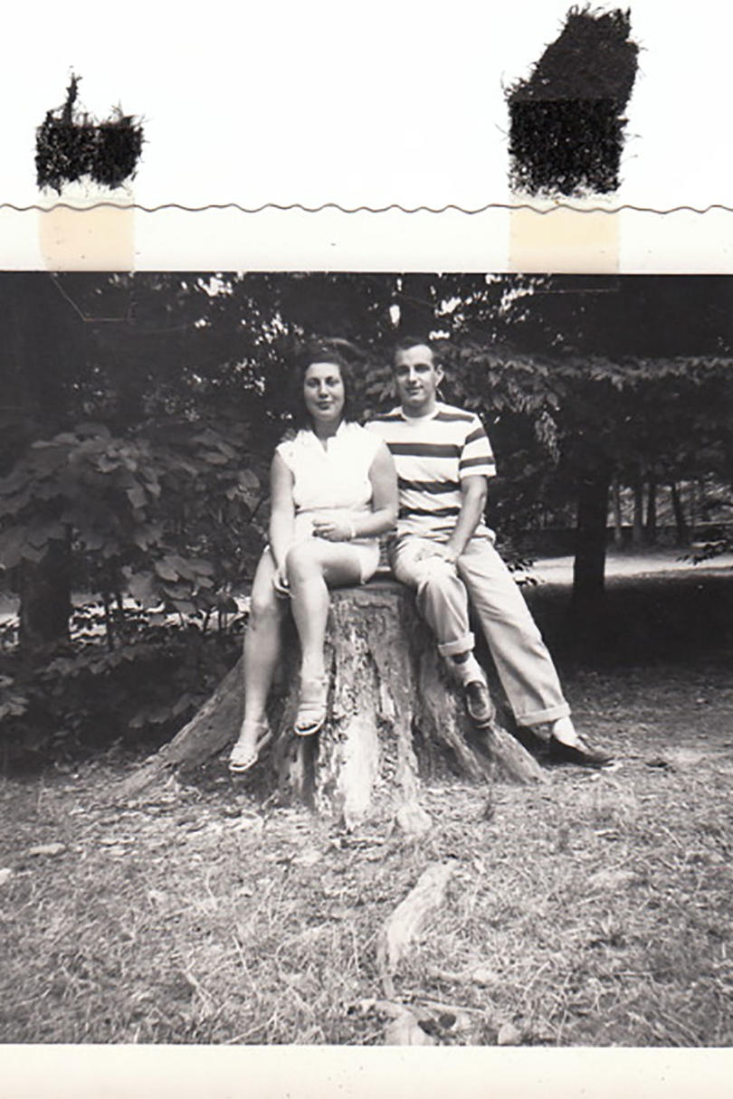 George and Alberta Jobczynski Sitting on Tree Stump