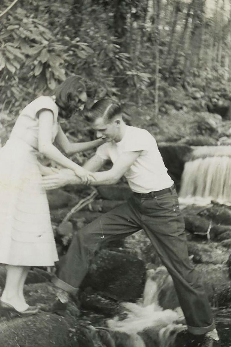 Bob and Jean Haynes Climbing Waterfall