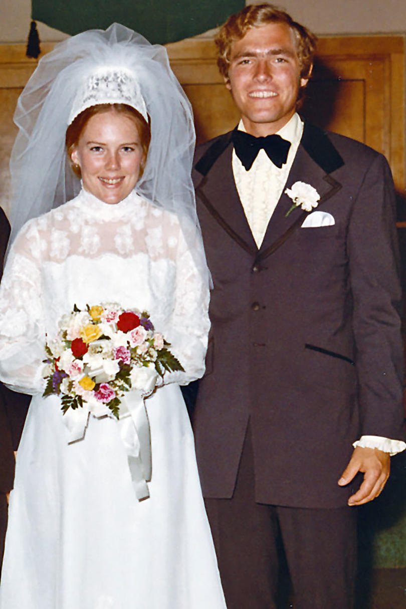 Michael and Susan Kelley with Colorful Bouquet