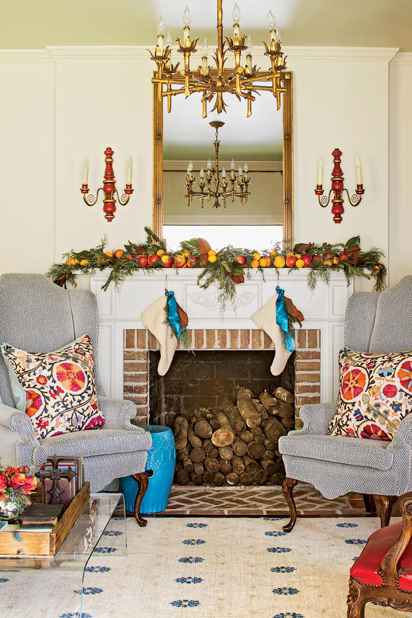 Keenan Living Room with Mantel Decorated for Christmas