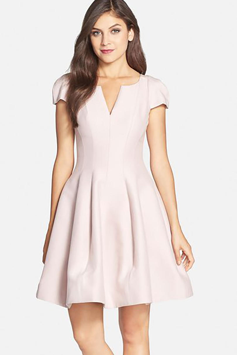 Pink Simple Fit & Flare Dress