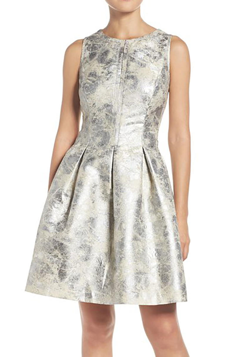 Rehearsal Dinner Dresses We Love_Metallic White and Silver Fit & Flare Dress