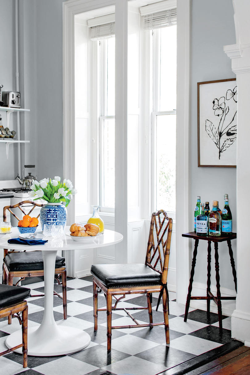 Stool Used as Bar Cart & 50 Best Small Space Decorating Tricks We Learned in 2016 - Southern ...