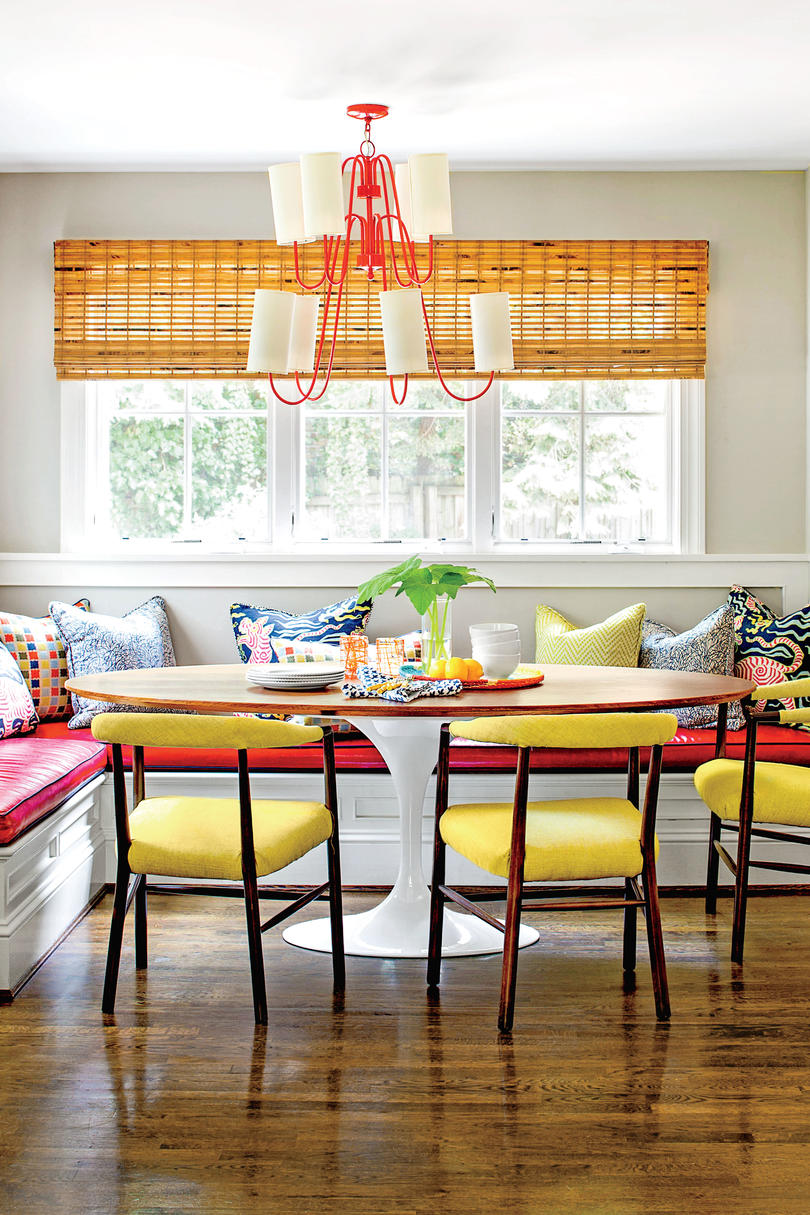 Colorful Kitchen Banquette Seating