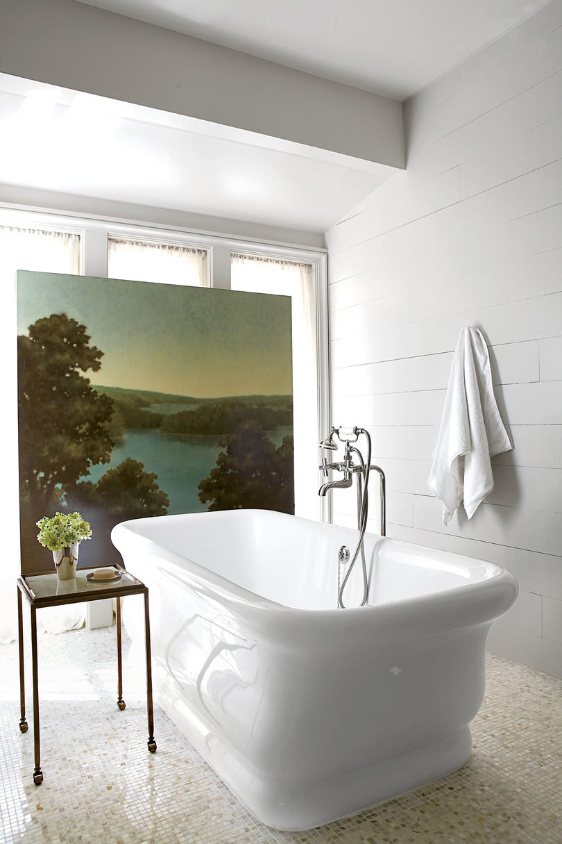 Landscape Art in White Bathroom