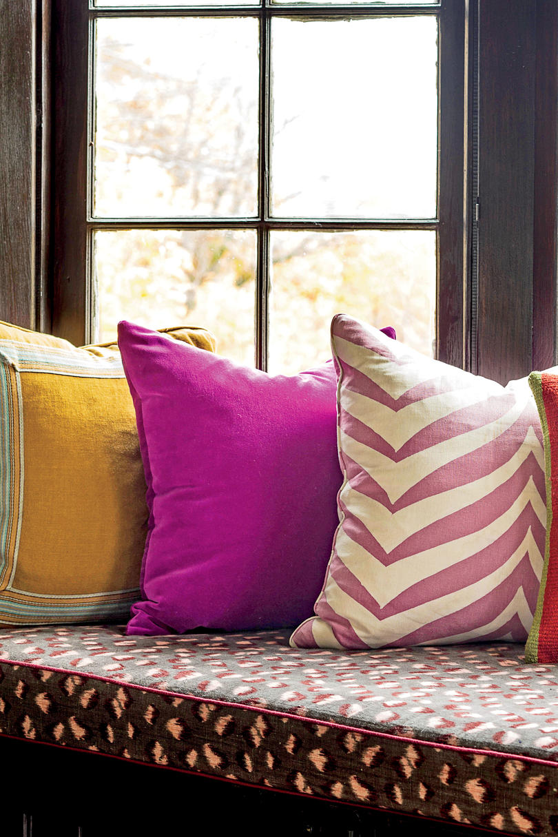 Colorful Pillows on Window Bench