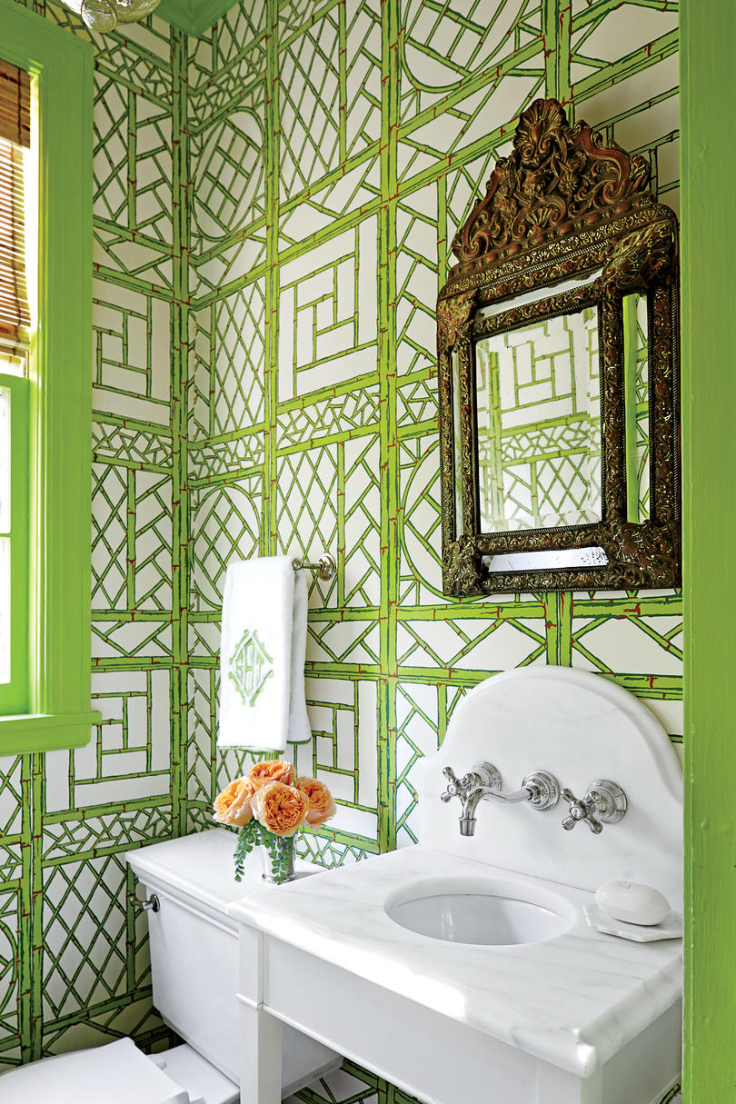 Green Bamboo Wallpaper in Bathroom