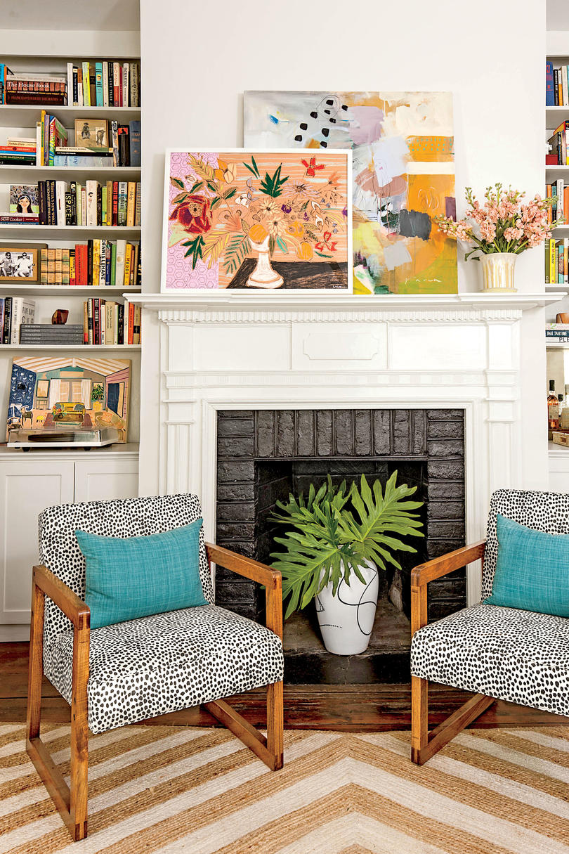 Art Stacked on Mantel. 50 Best Small Space Decorating Tricks We Learned in 2016