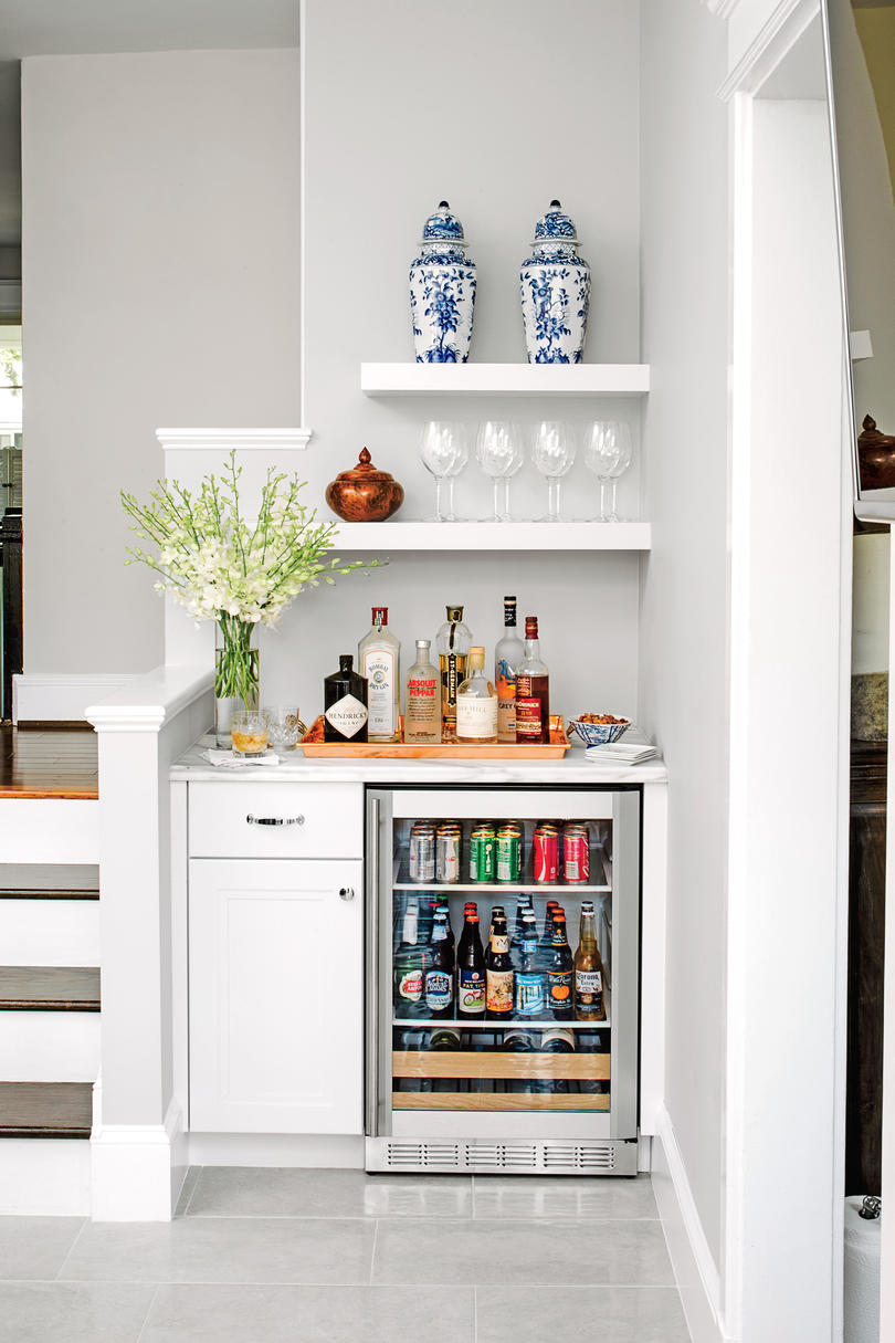 50 best small space decorating tricks we learned in 2016 bar nook with mini fridge amipublicfo Choice Image