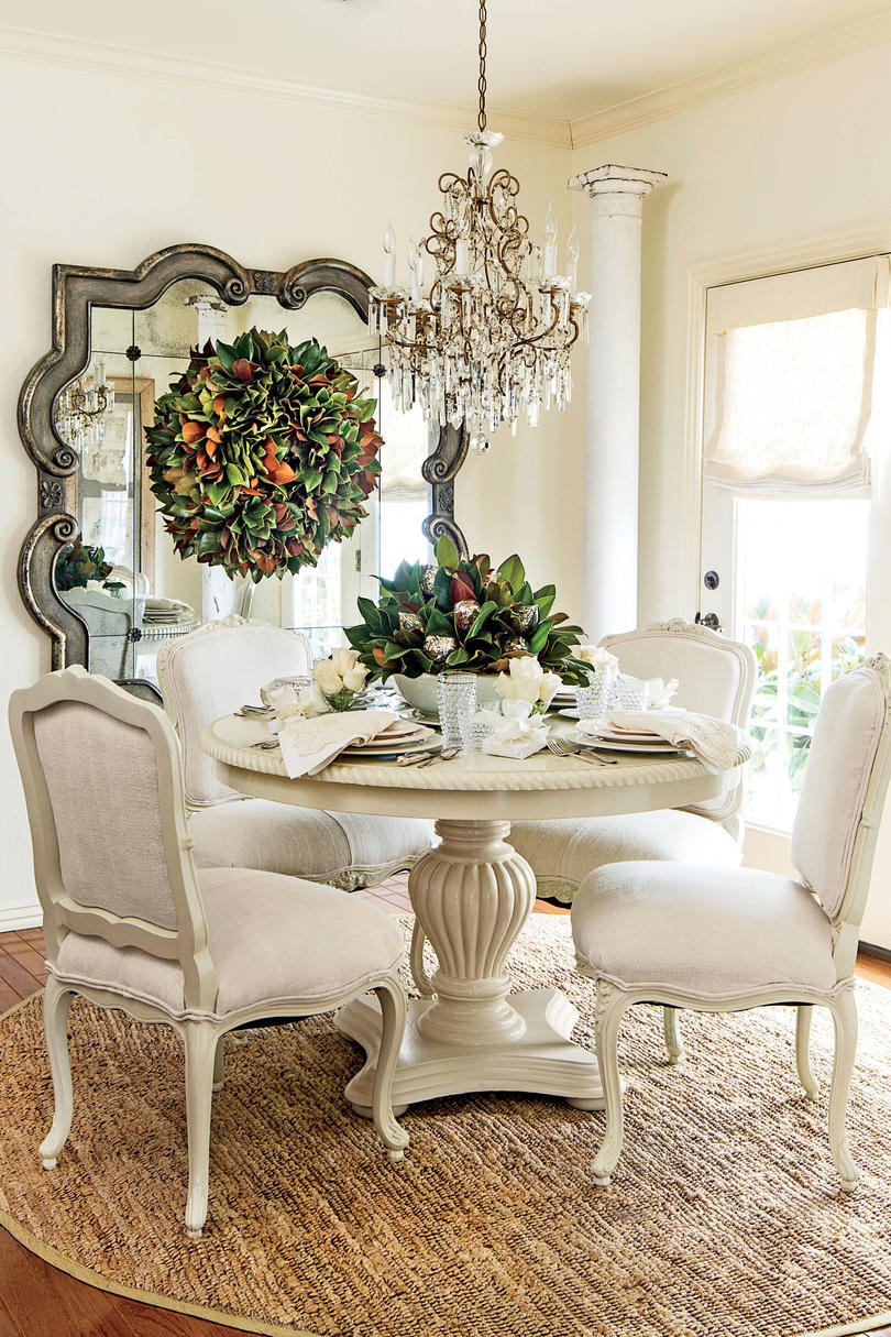 Understated Contrast White Magnolia Dining Room