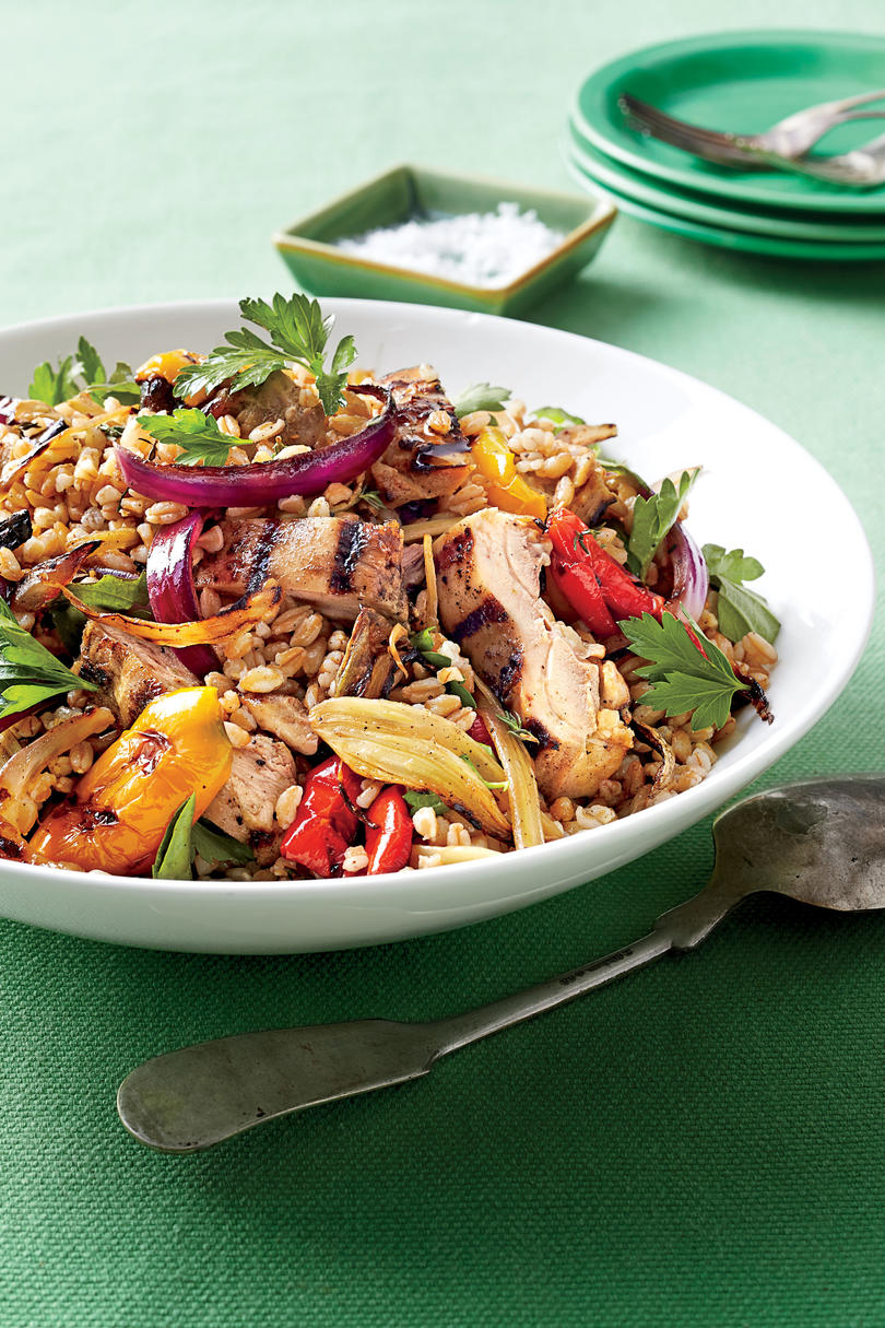 Chicken, Farro, and Vegetable Salad with Lemon Vinaigrette