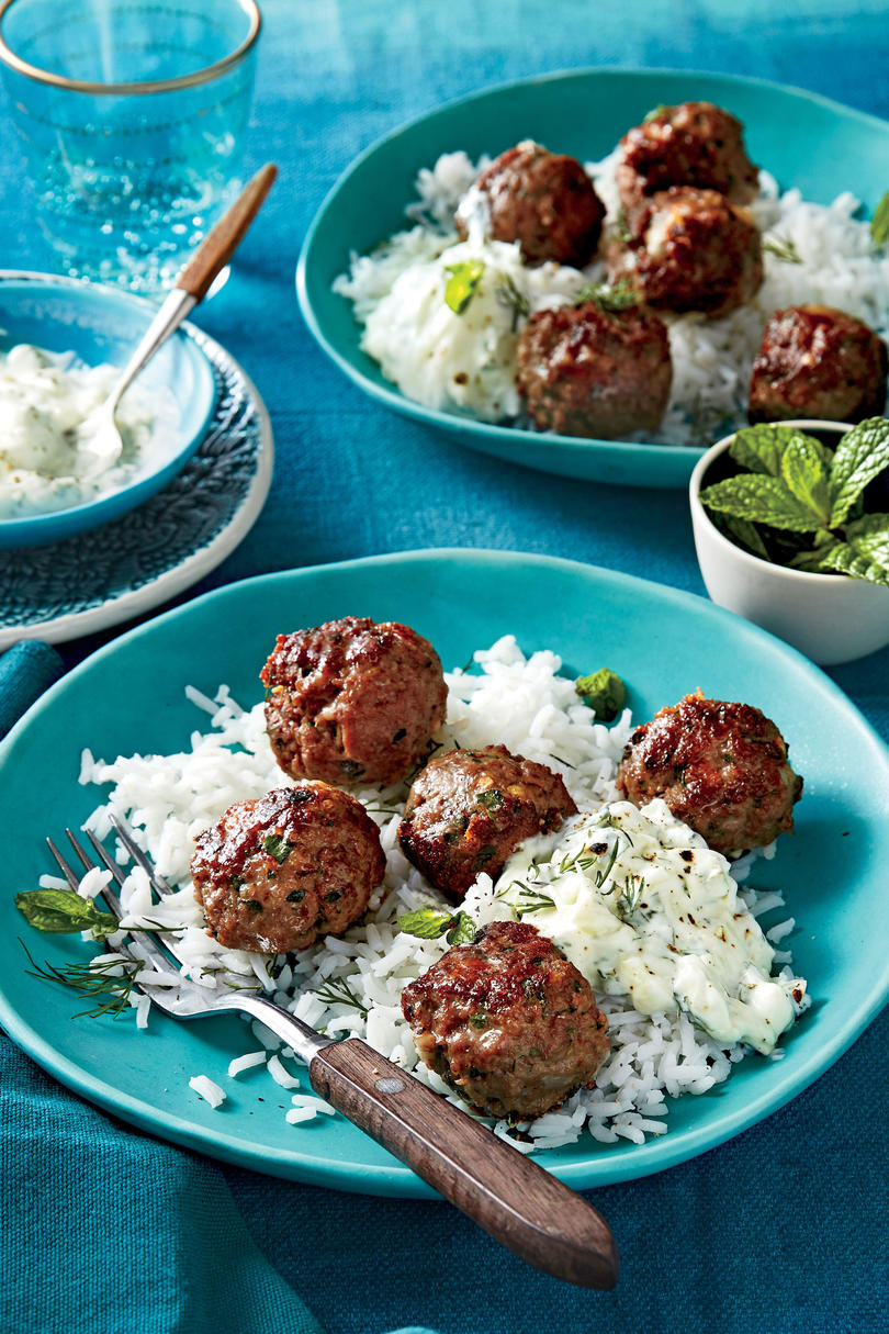 Tuesday: Greek Meatballs with Cucumber-Yogurt Sauce and Rice