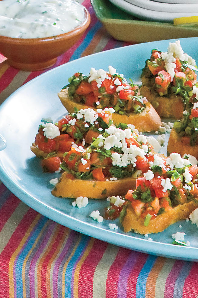 Golden Globe Appetizers Fresh-Herb Tomato Crostini
