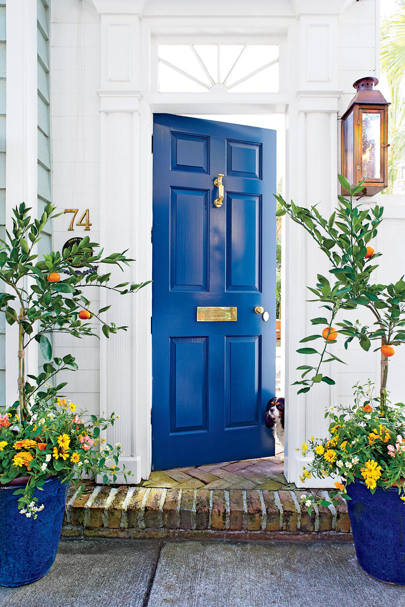 Charleston Door Deep Blue & What Does Your Front Door Color Say About You? - Southern Living