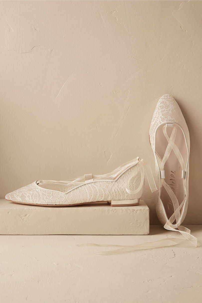 Southern Living Ivory Marielena Lace Flats Wedding Shoes