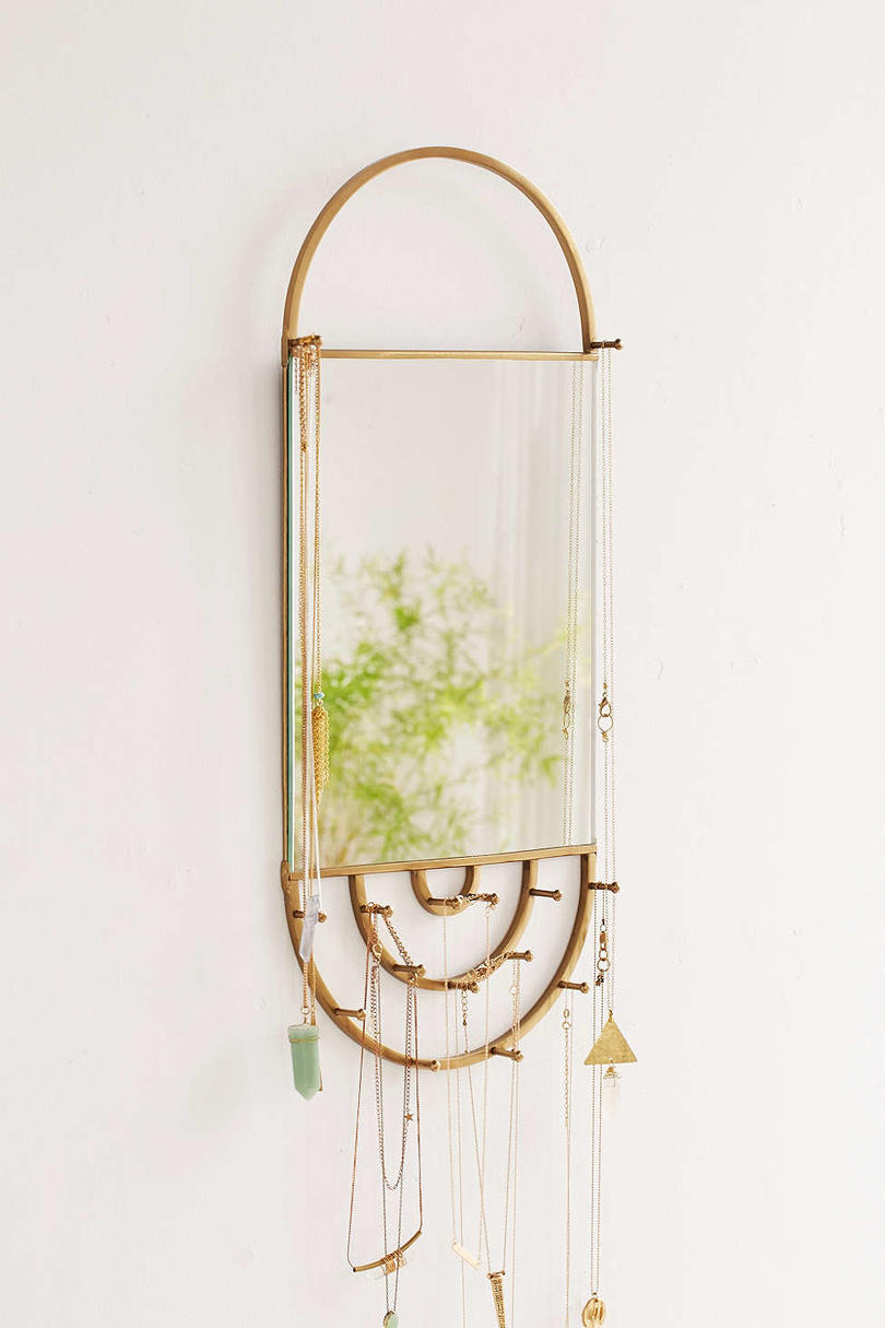 Hanging Rectangle Mirror Jewelry Storage