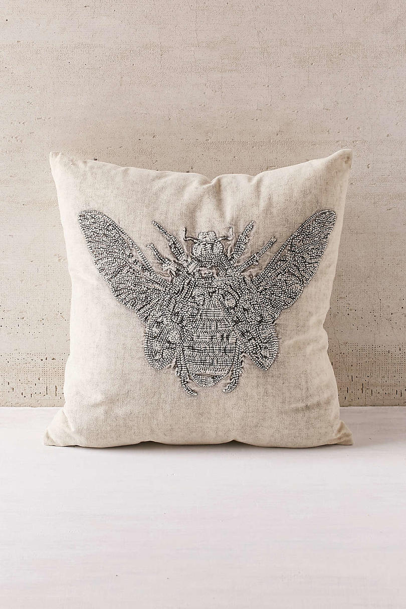 Embroidered Beetle Pillow