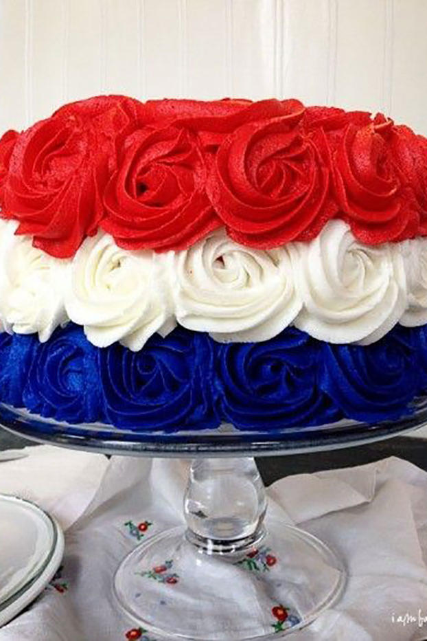Red, White, and Blue Ruffle Cake