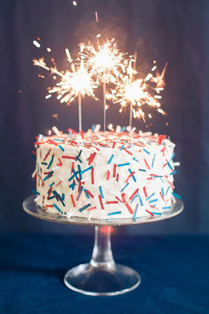 Confetti Cake with Sparklers