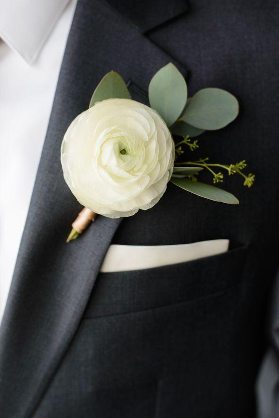 Ranunculus Wedding Bouquets for the boys