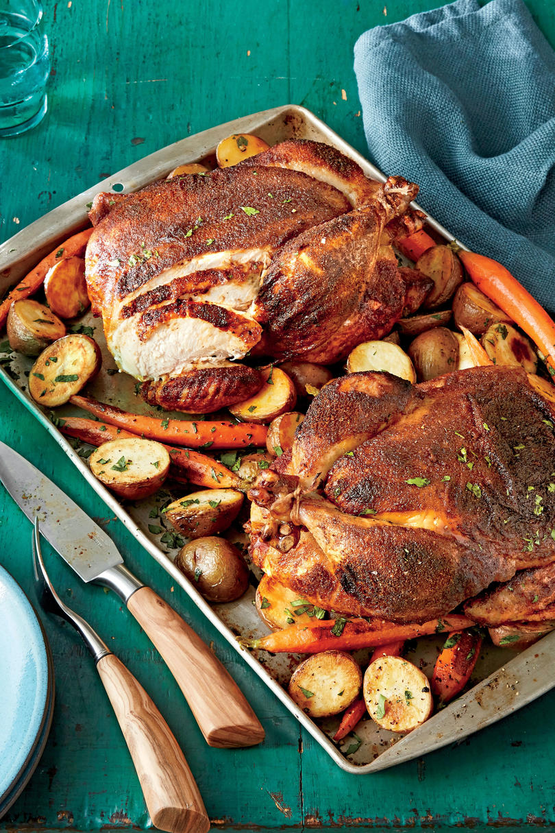 BBQ Rub Roast Chickens with Potatoes and Carrots