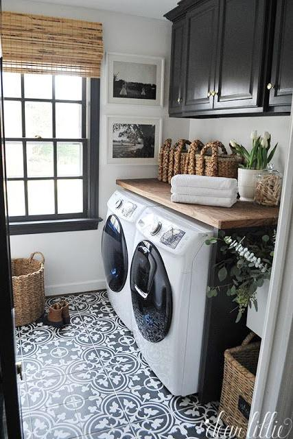add interest with contrast - Laundry Room Ideas
