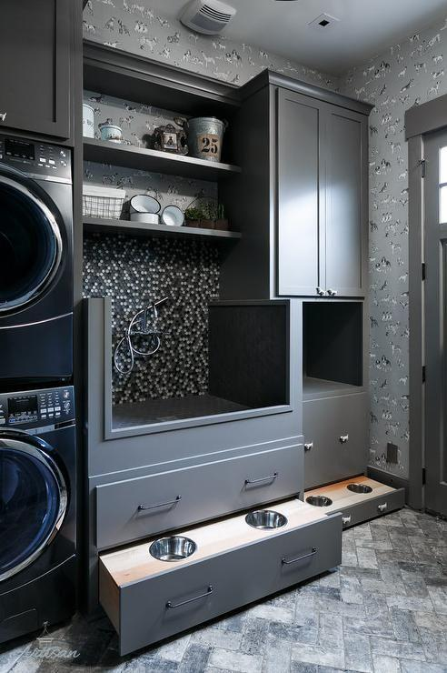 Dark Gray Laundry Room with Dog Wash Stations